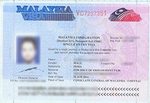 sample malaysia visa