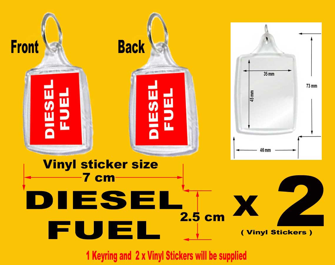 X Fuel Reminder Keyring And  X Fuel CapFlap Vinyl Stickers For - Custom vinyl stickers 1 x 2