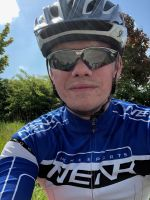 Scott at 1st stop at the top of the hill on the BHF Cotswold Ride 2018