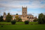 Side profile of Tewkesbury Abbey