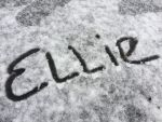 Ellie's name in the snow