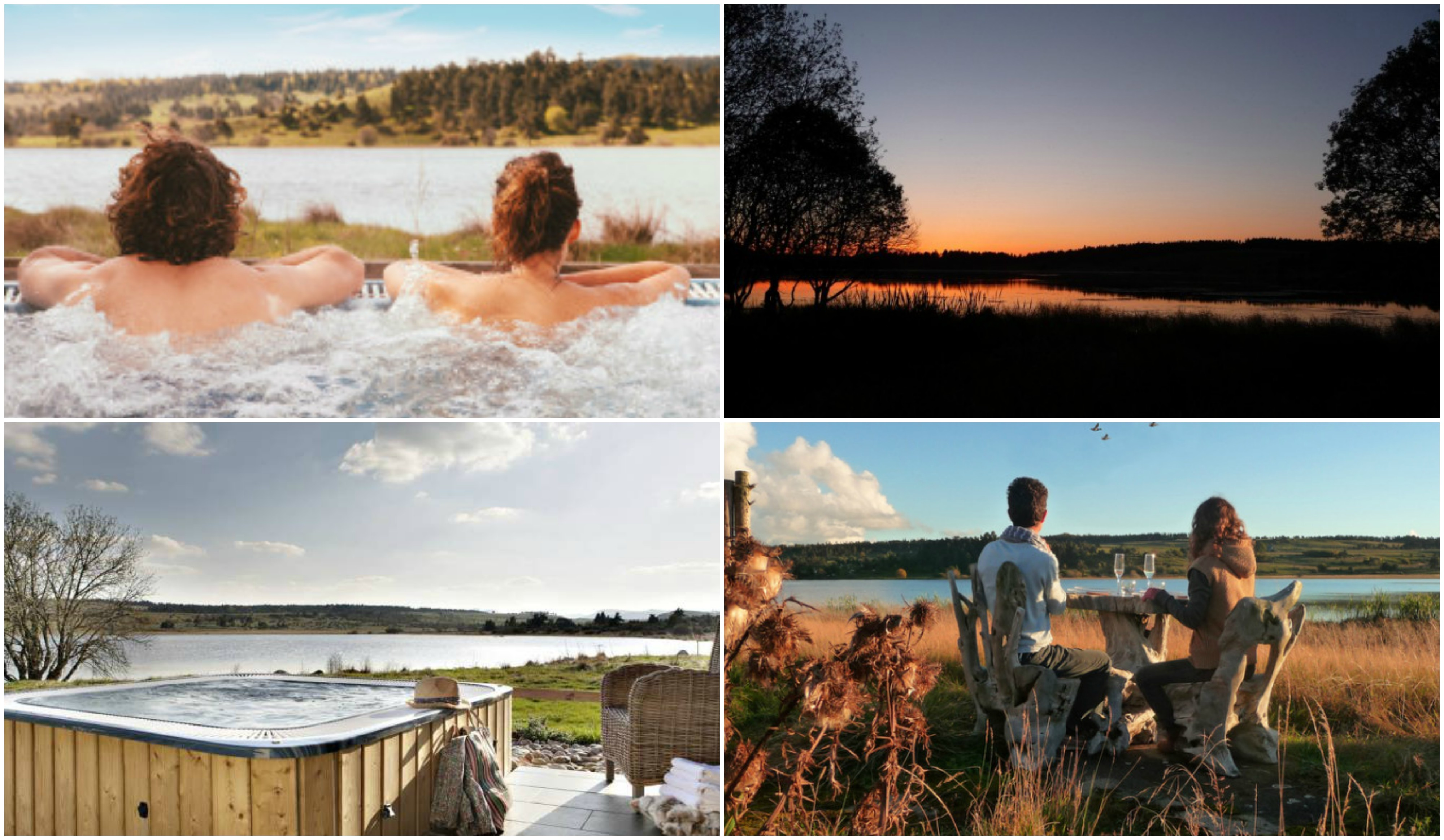 Couple in hot -tub jacuzzi | Sunset over lake | Outdoor hot-tub | Couple sitting at a table drinking wine and looking out over lake