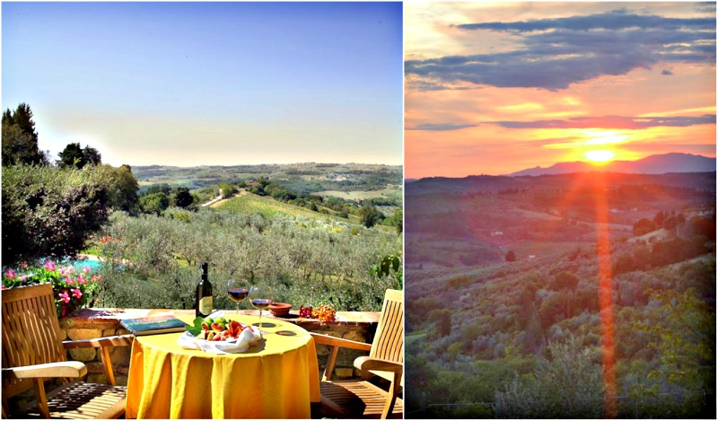 A table with wine overlooking the Chianti hillside | Tuscany at sunset