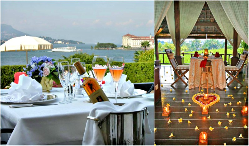 Romantic dinner with view of lake Maggiore | Romantic dinner in Bali with candles and decoration