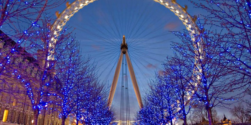 London eye at Christmas