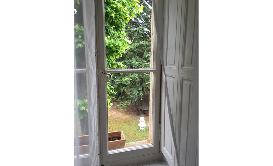 french rural retreat window view