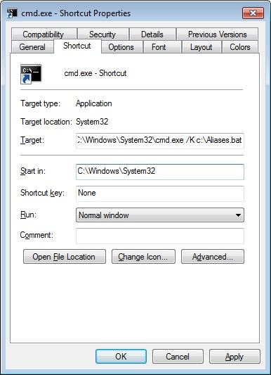 Properties window for Shortcut to Command Prompt