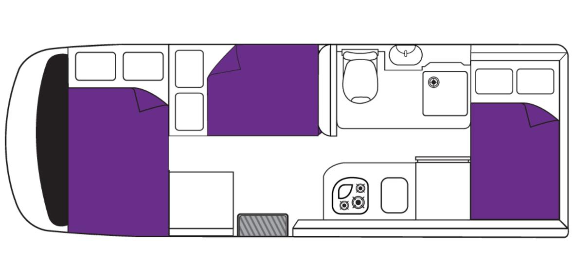 New Zealand Encounter Campervan Night Floorplan