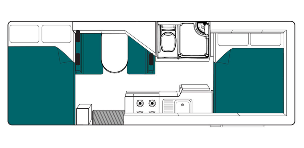 Australia maui Beach Motorhome Floorplan Night