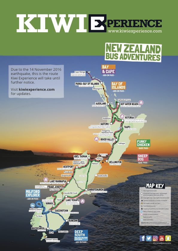 Kiwi Experience Route Map (Nelson)