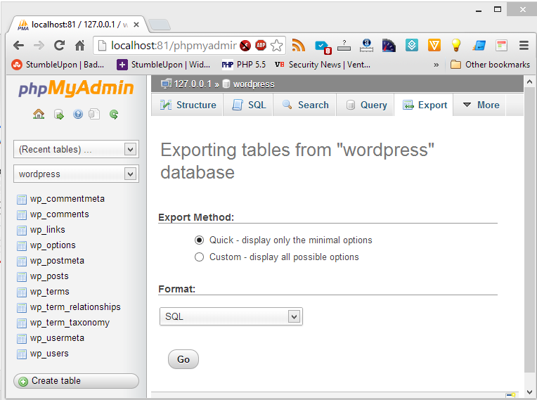 Export the wordpress Database as SQL file