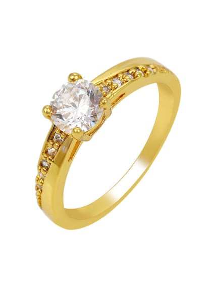 Copper Alloy 24k Gold Plated Simple Women Zircon Engagement Ring