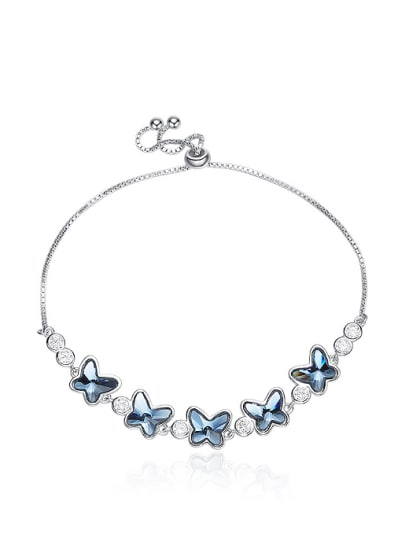 Fashion Little Butterflies Swarovski Crystals 925 Silver Bracelet