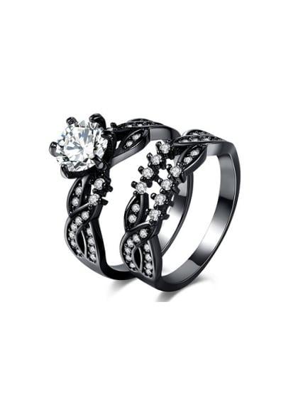 Personality Black Gun Cross Design Copper Ring Set Tomade