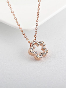 Simple Style Rose Gold Crystal Necklace