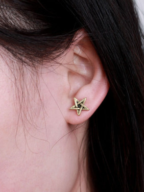 Alloy Gold Plated Star Stud Earrings