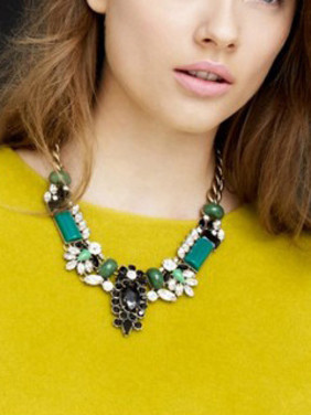 Artificial Gemstones Luxury Flower Alloy Necklace