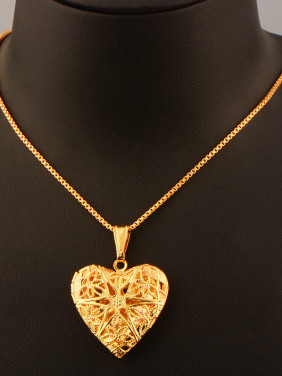 Hollow Heart-shaped Box Necklace