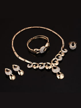 Alloy Imitation-gold Plated Vintage style Rhinestones Four Pieces Jewelry Set