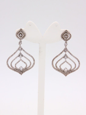 White Drop Earring with Platinum Plated Copper Zircon