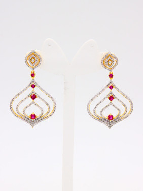 Gold Plated Copper Zircon Multicolor Drop Earring