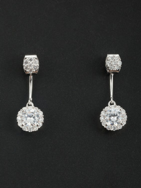 Fashion Platinum Plated Round Drop Earring