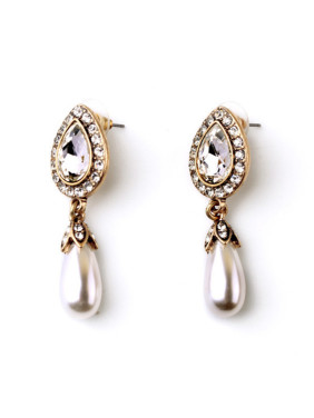 Exquisite and Lovely Dripping Artificial Pearl Alloy Earrings