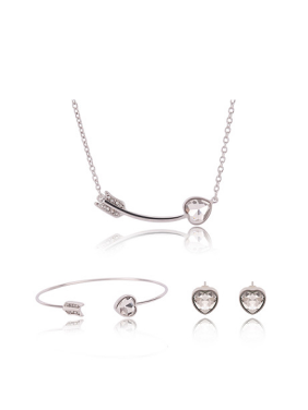 Alloy White Gold Plated Simple style Heart-shaped Artificial Stone Three Pieces Jewelry Set