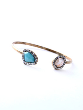 Simple and Elegant Artificial Stones Alloy Bangle