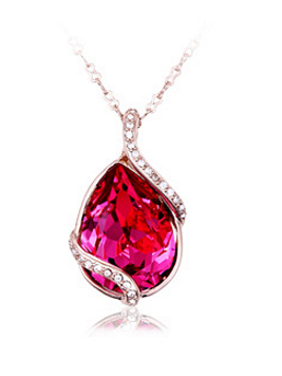 Fashion Women Crystal Water Drop Shaped Long Necklace