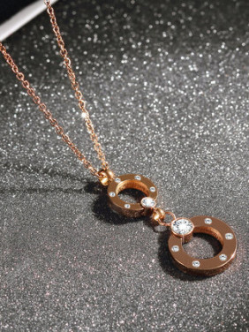 Rose Gold Rhinestone Stainless Steel  Double Loop Shaped Necklace