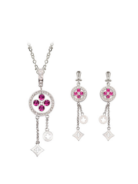Alloy White Gold Plated Fashion Rhinestones Geometric Two Pieces Jewelry Set