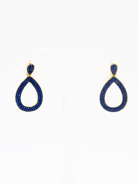 The new Gold Plated Copper Zircon Drop Earring with Navy