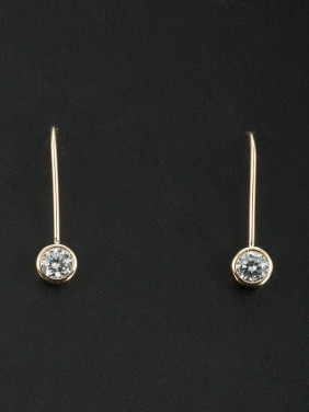 Blacksmith Made Gold Plated Zircon Round Drop Earring