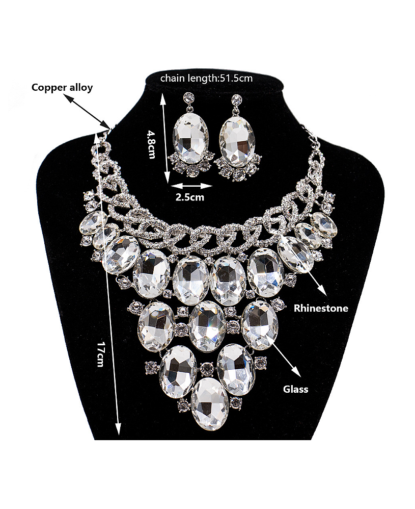 Exaggerated Oval Glass Rhinestones Two Pieces Jewelry Set