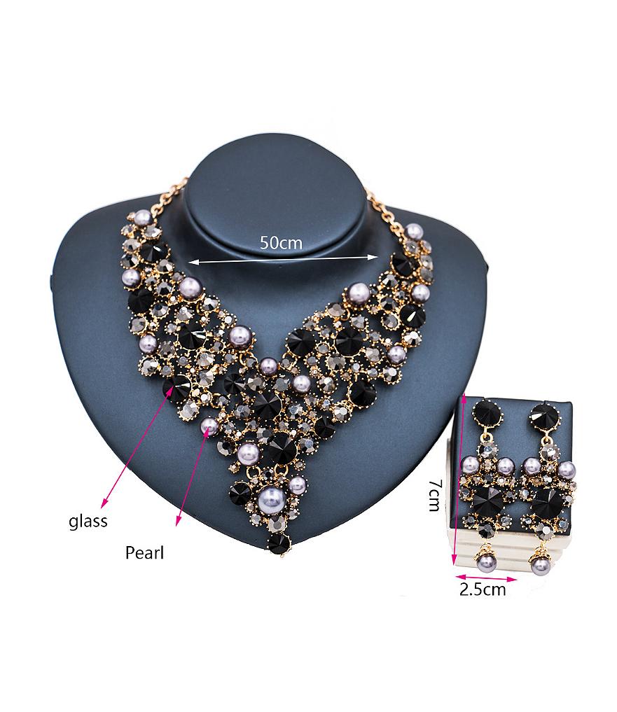 Pearl Glass Rhinestones Two Pieces Jewelry Set