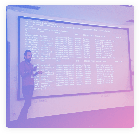 [photo] Palo the Monk presenting the Docker technology
