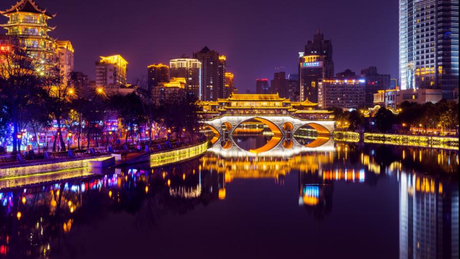 Night View of Jiuyan Bridge