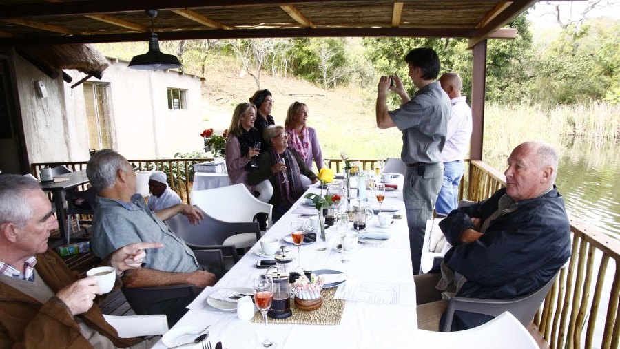 Guests enjoy lunch at a Restaurant