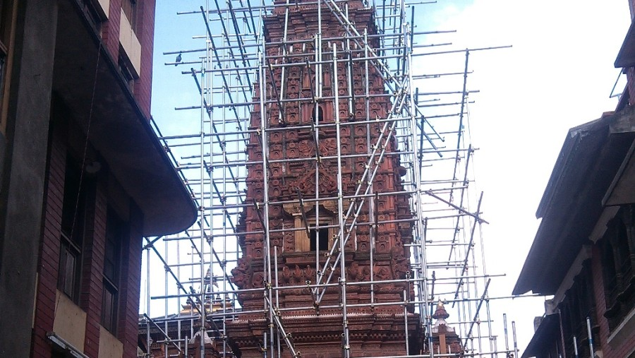 Temple under renovation after earthquake 2015
