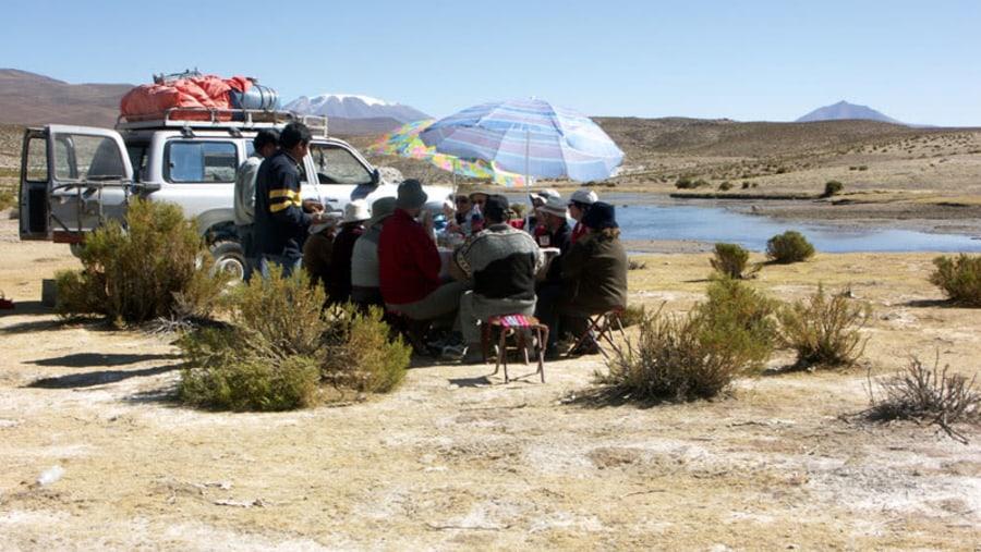 Picnic lunch in Los Lipez desert