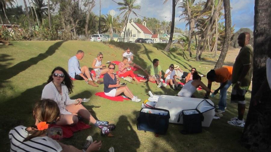 Having a picnic breakfast on Bathsheba Beach's seaside lawn