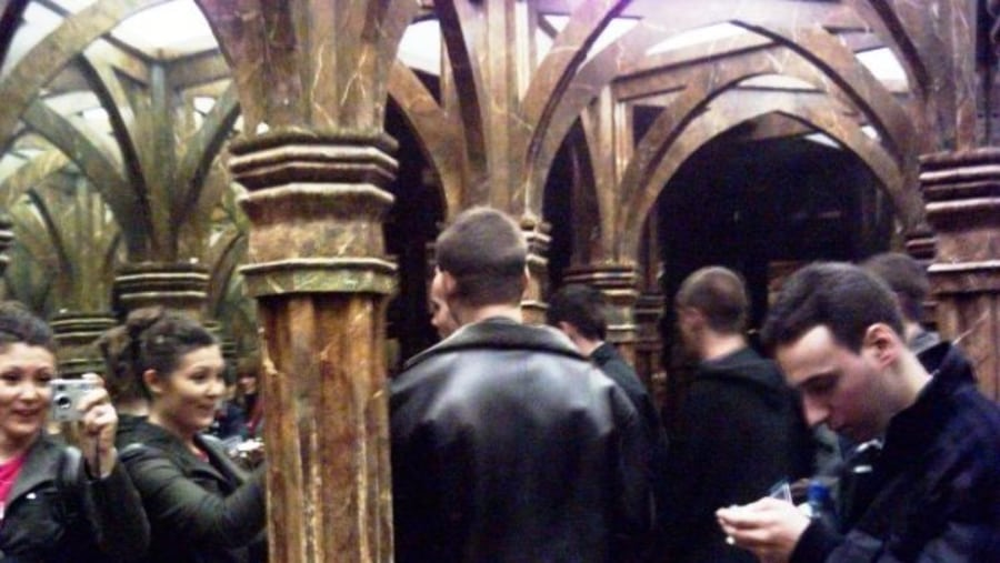 Petrin hill in Prague, the mirror hall, with the group of students