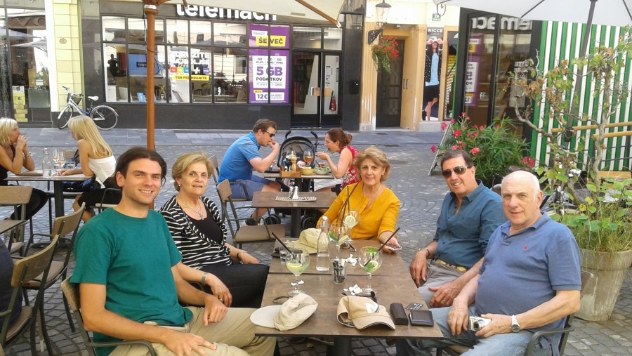 Relaxing in a caffe in Ljubljana with a group from Urugvay