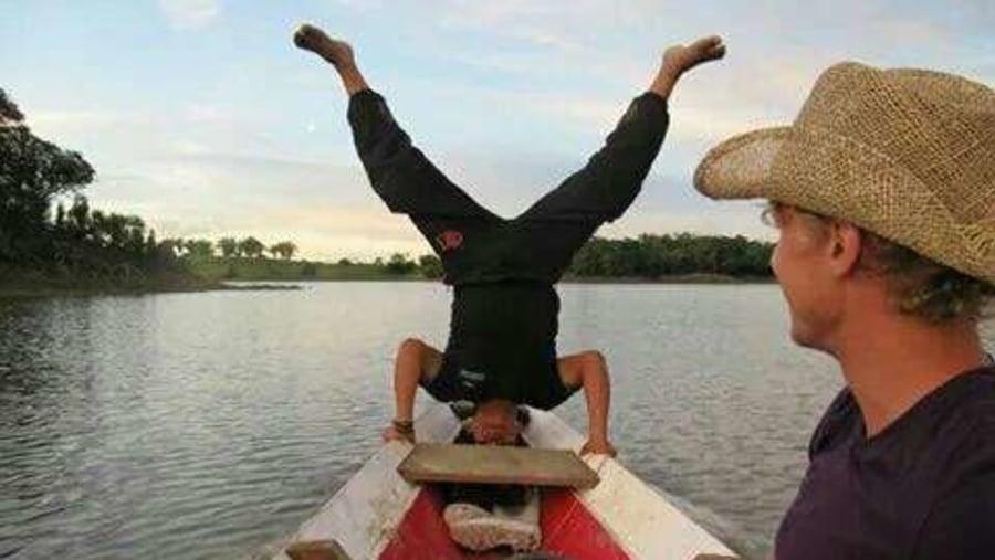 Amazon skills on a canoe in movement