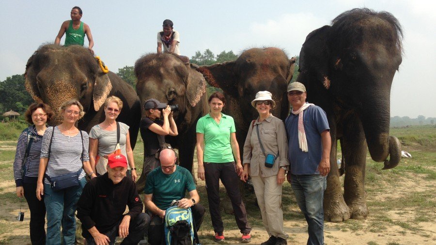 group pic after washing these lovely elephants
