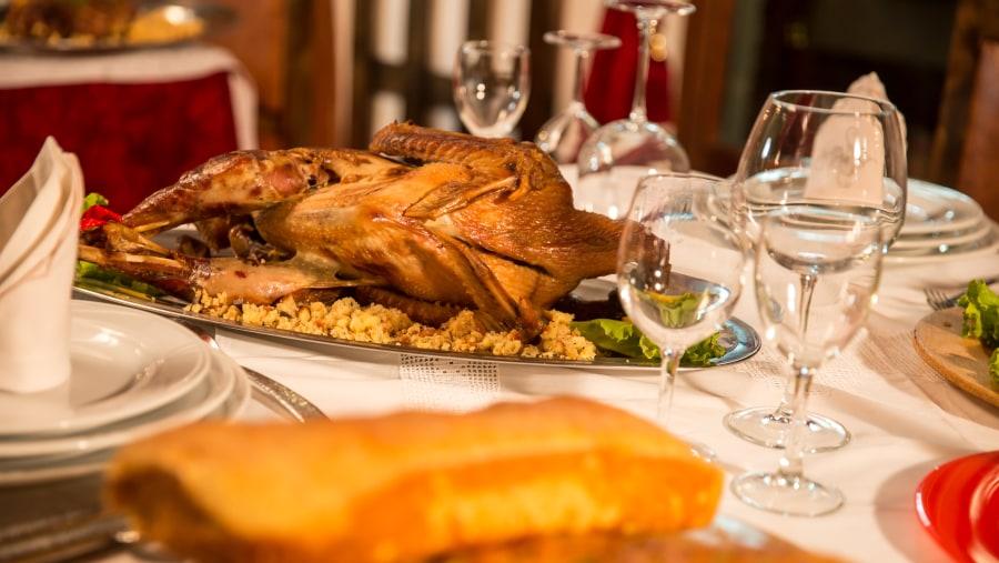 Albania Food, Turkey chicken with traditional bread pap, Castle Park restaurant, Berat food