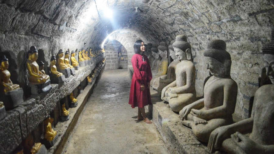 In the cave of statues in Mrauk U