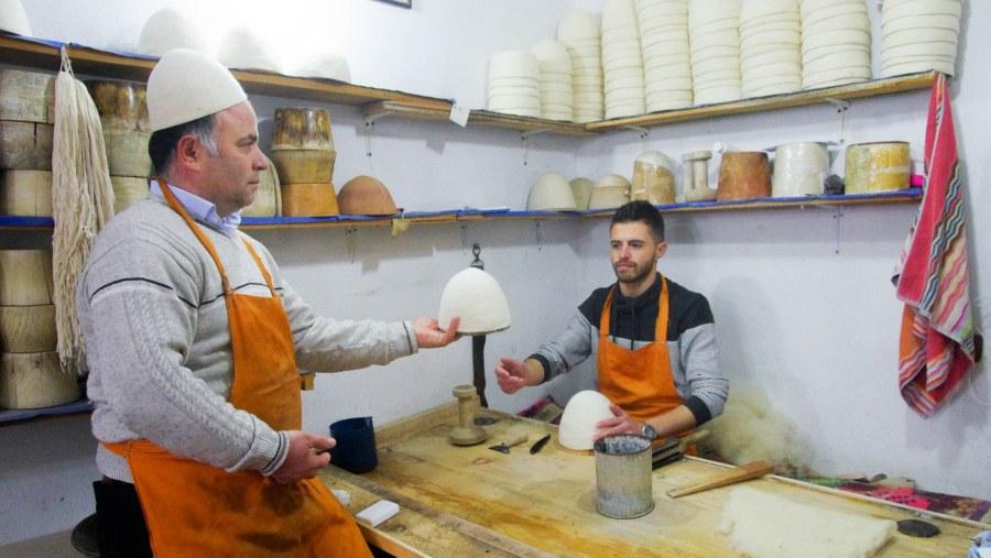 Artisan in Kruja making Qeleshe