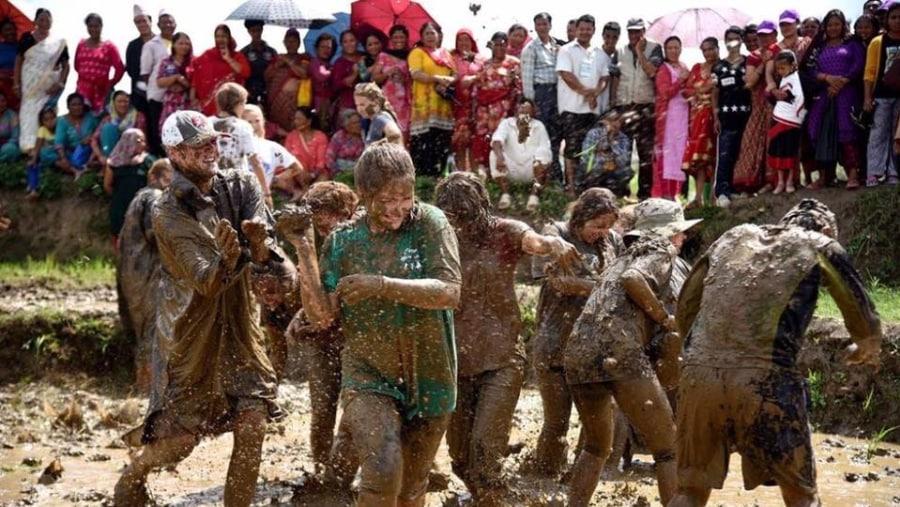 entertaining in Ropai (rice plantation festival)